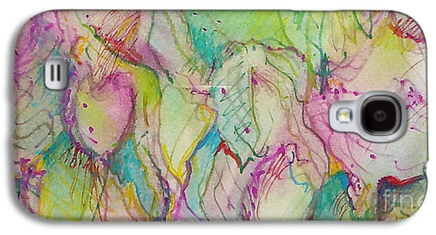Abstract Galaxy S4 Case featuring the painting Two Lips by Jan Bennicoff