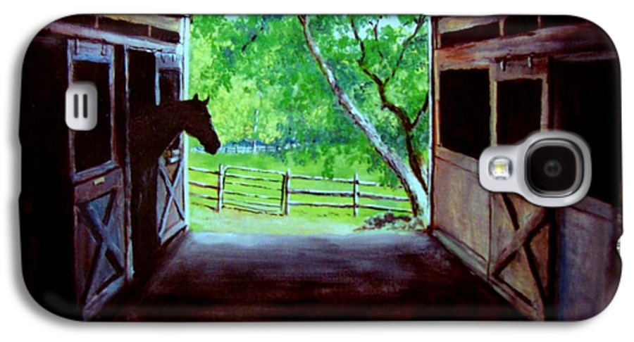 Horse Galaxy S4 Case featuring the painting Water's Edge Farm by Jack Skinner