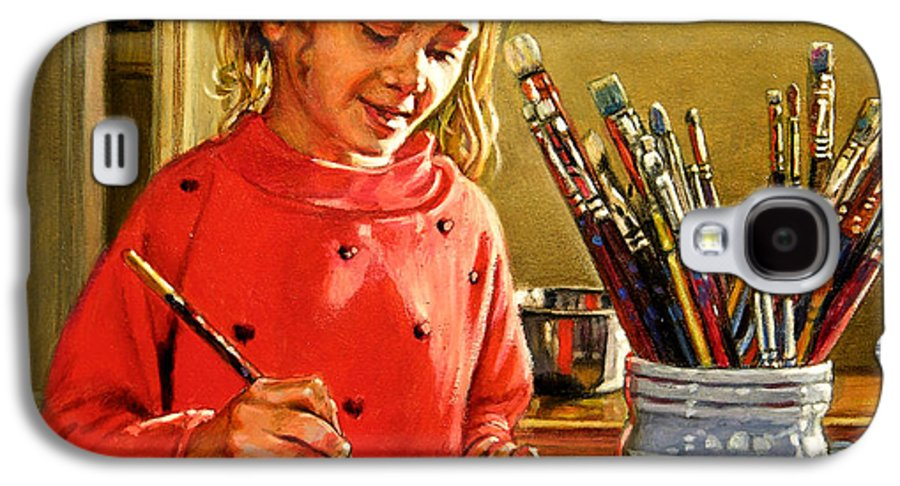 Young Girl Painting Galaxy S4 Case featuring the painting Young Artist by John Lautermilch