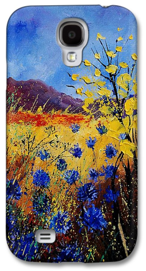 Poppies Flowers Floral Galaxy S4 Case featuring the painting Blue Cornflowers by Pol Ledent