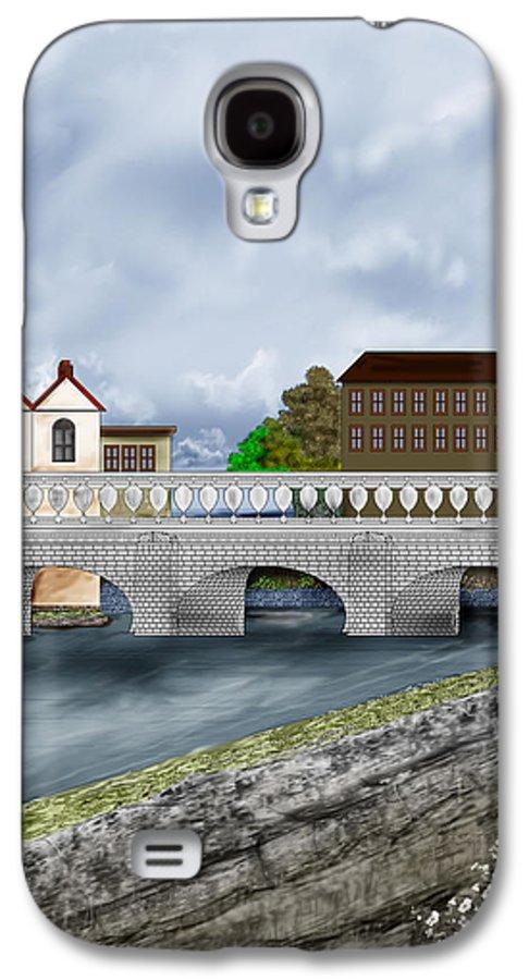 Galway Ireland Bridge Galaxy S4 Case featuring the painting Bridge In Old Galway Ireland by Anne Norskog