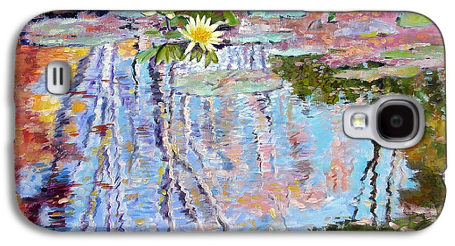 Garden Pond Galaxy S4 Case featuring the painting Fall Reflections by John Lautermilch
