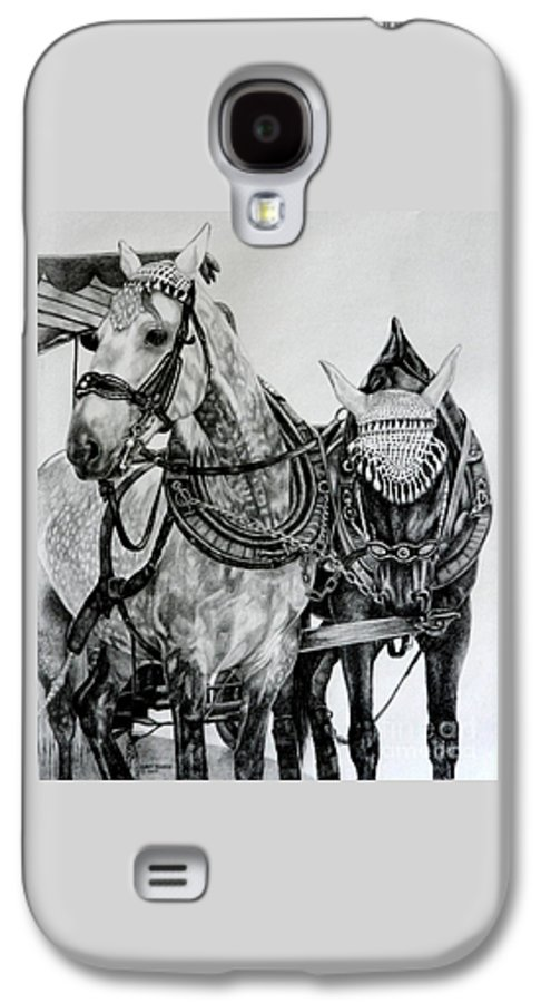Horse Pencil Black White Germany Rothenburg Galaxy S4 Case featuring the drawing 2 Horses Of Rothenburg 2000usd by Karen Bowden