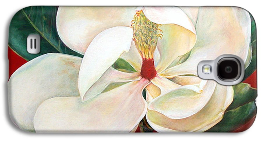 Floral Painting Galaxy S4 Case featuring the painting Magnolia by Muriel Dolemieux