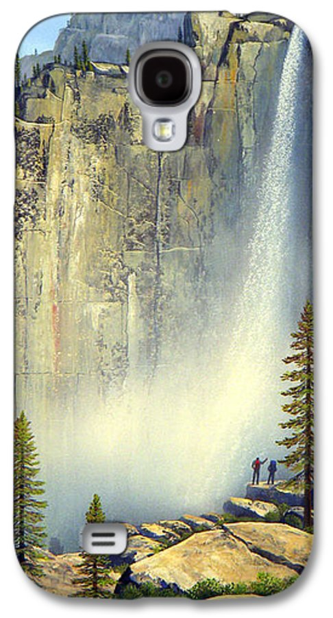 Landscape Galaxy S4 Case featuring the painting Misty Falls by Frank Wilson