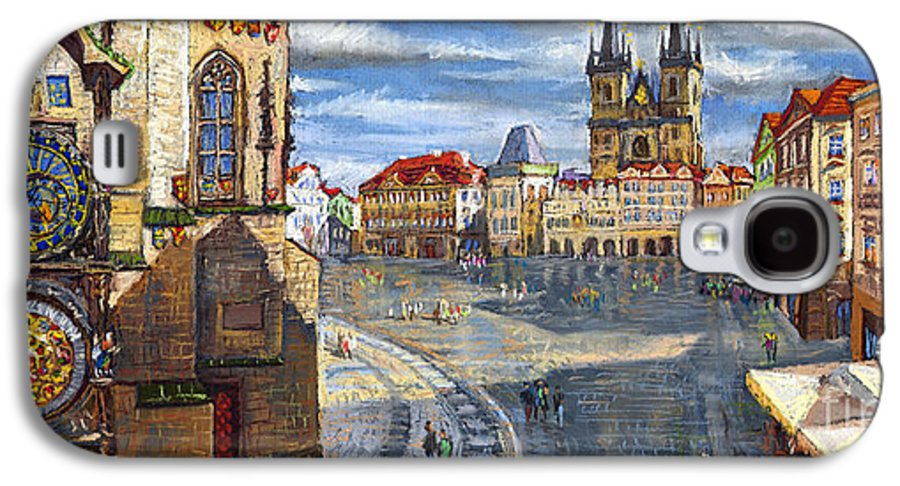 Pastel Galaxy S4 Case featuring the painting Prague Old Town Squere by Yuriy Shevchuk