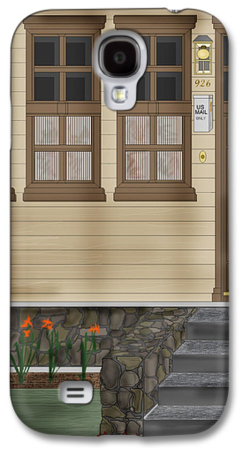 Townscape Galaxy S4 Case featuring the painting Rags On The Front Steps by Anne Norskog