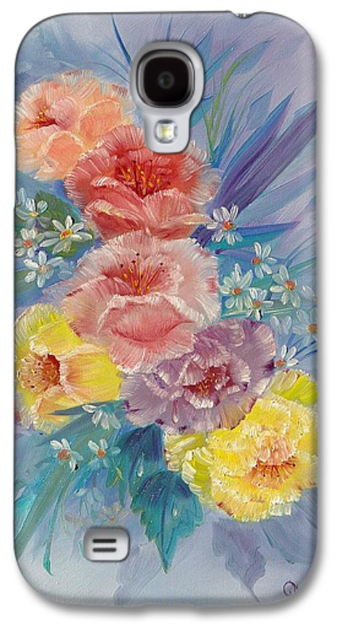 Roses Galaxy S4 Case featuring the painting Roses by Quwatha Valentine