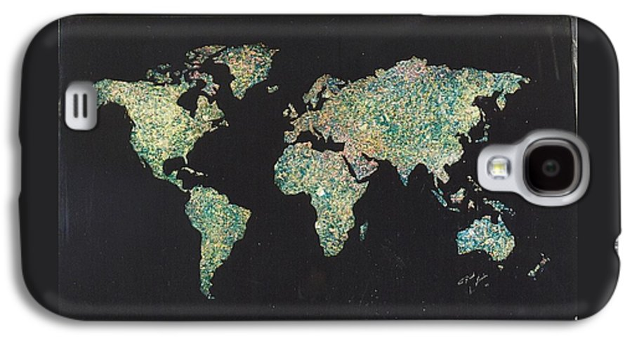 World Maps Galaxy S4 Case featuring the painting Shattered World by Rick Silas