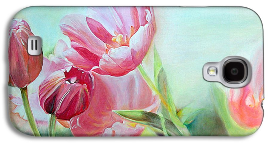 Floral Painting Galaxy S4 Case featuring the painting Tulipes by Muriel Dolemieux