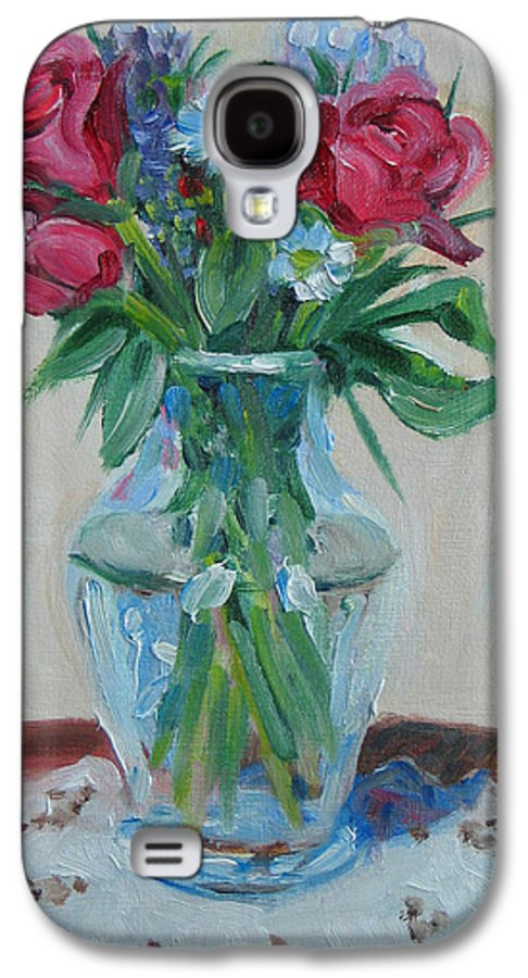 Roses Galaxy S4 Case featuring the painting 3 Roses by Paul Walsh