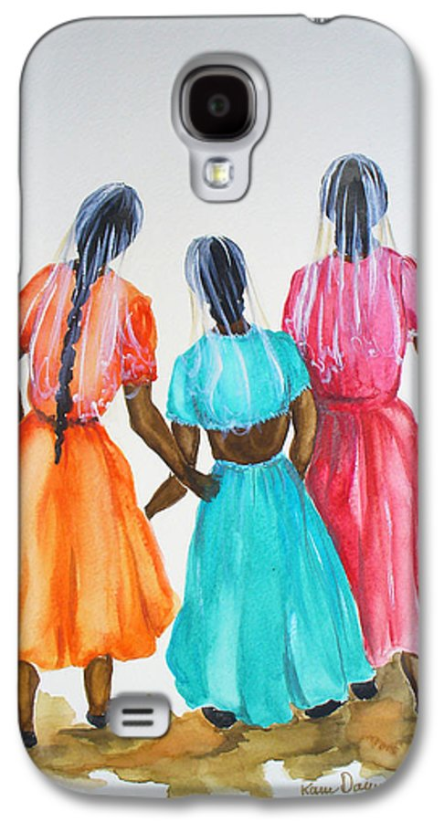 Three Ladies East Indian Galaxy S4 Case featuring the painting 3bff by Karin Dawn Kelshall- Best