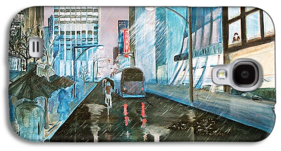 Street Scape Galaxy S4 Case featuring the painting 42nd Street Blue by Steve Karol