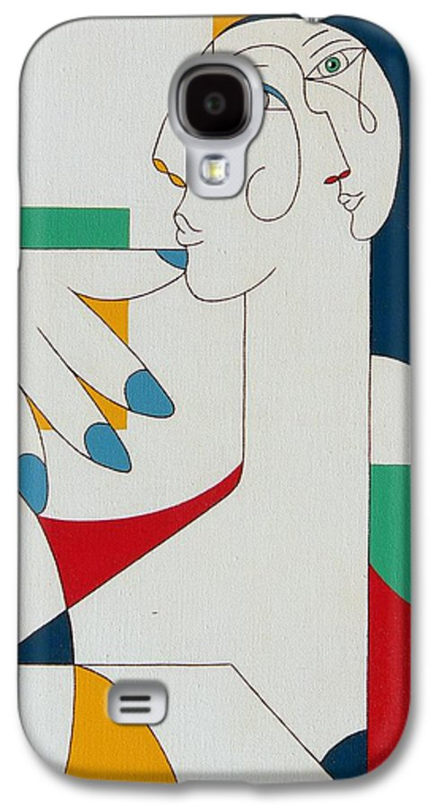 Portrait Galaxy S4 Case featuring the painting 5 Fingers by Hildegarde Handsaeme