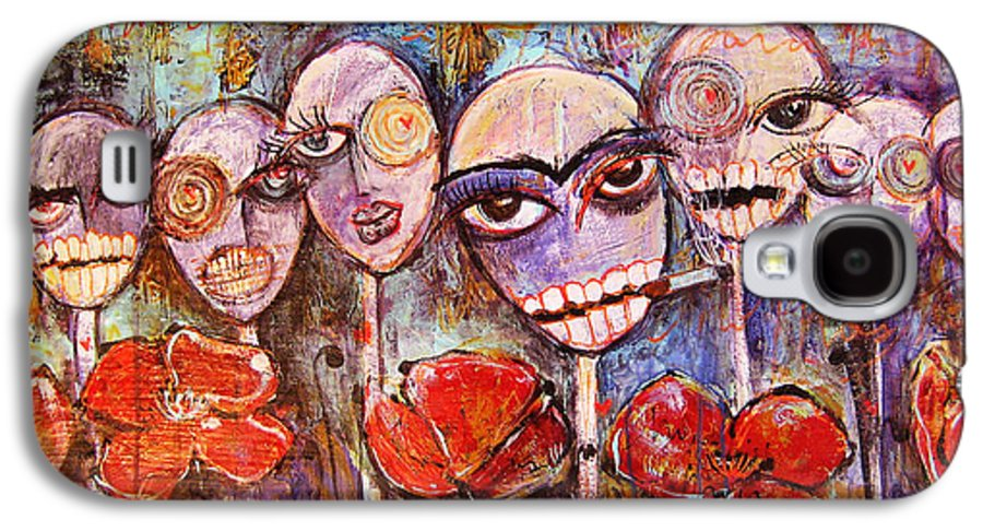Dia De Los Muertos Galaxy S4 Case featuring the painting 5 Poppies For The Dead by Laurie Maves ART