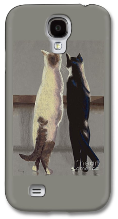 Cat Galaxy S4 Case featuring the painting A Bird by Linda Hiller