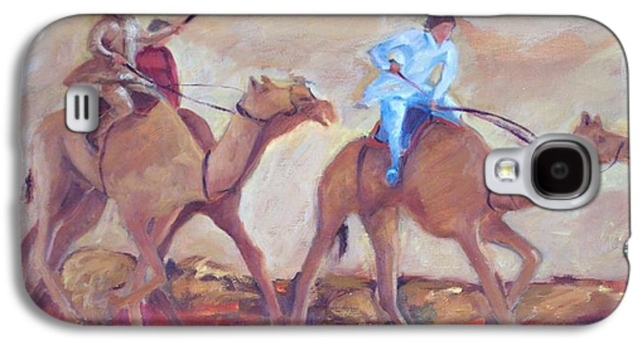 Figurative Galaxy S4 Case featuring the painting A Day At The Camel Races by Ginger Concepcion