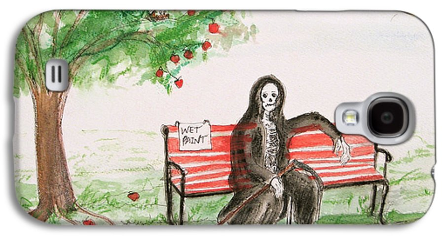 Darkestartist Day Death Holiday Humor Ink Off Paint Park Watercolor Watercolour Galaxy S4 Case featuring the painting A Day At The Park by Darkest Artist