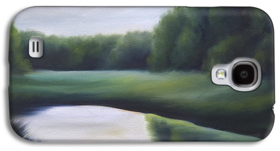 Nature; Lake; Sunset; Sunrise; Serene; Forest; Trees; Water; Ripples; Clearing; Lagoon; James Christopher Hill; Jameshillgallery.com; Foliage; Sky; Realism; Oils; Green; Tree Galaxy S4 Case featuring the painting A Day In The Life 3 by James Christopher Hill