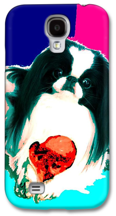 A Japanese Chin And His Toy Galaxy S4 Case featuring the digital art A Japanese Chin And His Toy by Kathleen Sepulveda