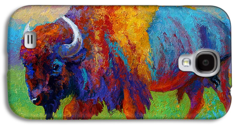 Wildlife Galaxy S4 Case featuring the painting A Journey Still Unknown - Bison by Marion Rose