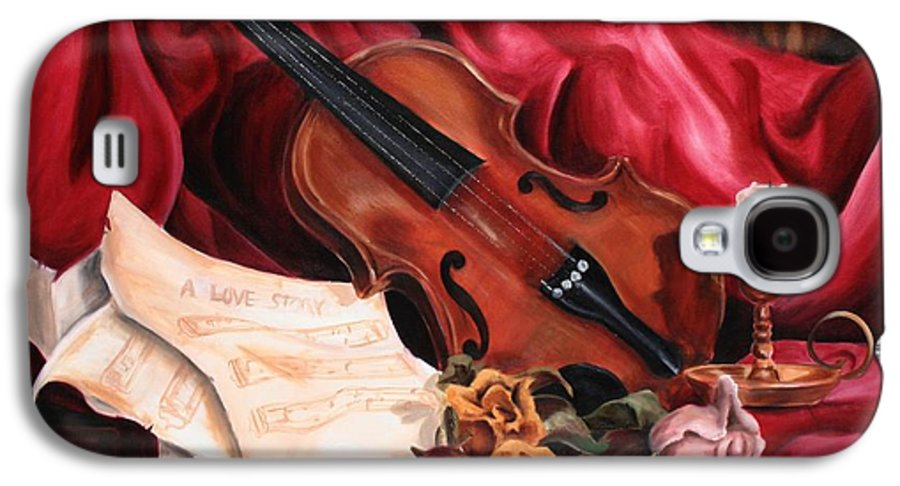 Violin Galaxy S4 Case featuring the painting A Love Story by Maryn Crawford