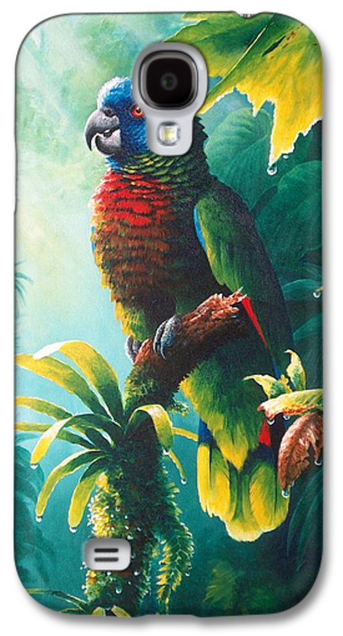Chris Cox Galaxy S4 Case featuring the painting A Shady Spot - St. Lucia Parrot by Christopher Cox