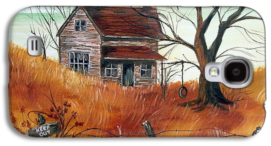 Landscape Galaxy S4 Case featuring the painting Abandoned Farmhouse by Quwatha Valentine