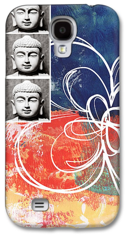 Buddha Galaxy S4 Case featuring the mixed media Abstract Buddha by Linda Woods