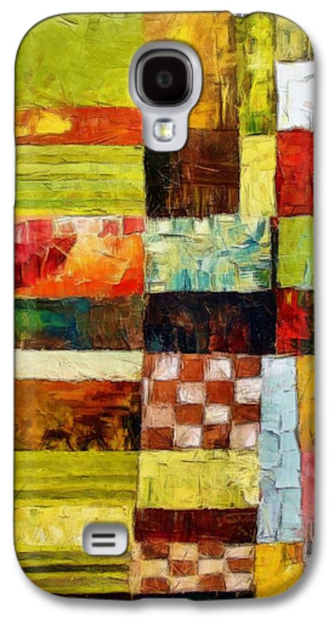 Patchwork Galaxy S4 Case featuring the painting Abstract Color Study With Checkerboard And Stripes by Michelle Calkins