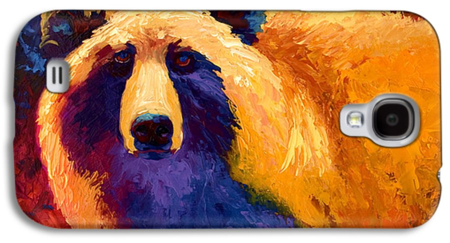 Western Galaxy S4 Case featuring the painting Abstract Grizz II by Marion Rose