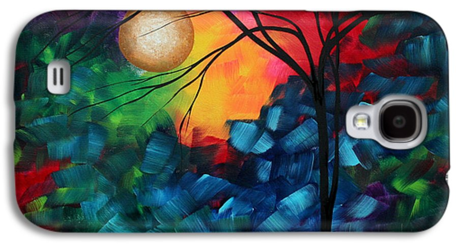 Abstract Galaxy S4 Case featuring the painting Abstract Landscape Bold Colorful Painting by Megan Duncanson