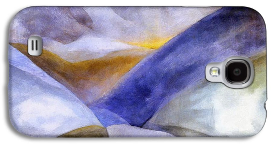 Blue Galaxy S4 Case featuring the painting Abstract Mountain Landscape by Michelle Calkins
