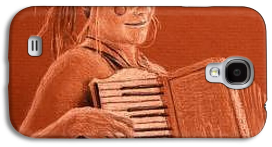 Accordion Galaxy S4 Case featuring the drawing Accordion Girl by Michael Beckett