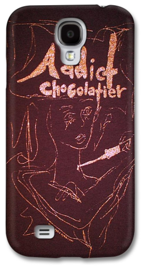 Dark Chocolate Galaxy S4 Case featuring the drawing Addict Chocolatier by Ayka Yasis
