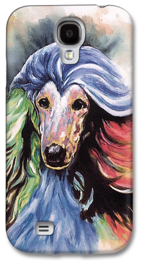 Afghan Hound Galaxy S4 Case featuring the painting Afghan Storm by Kathleen Sepulveda