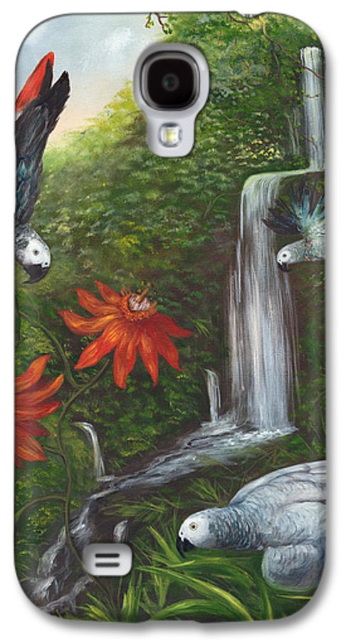 Landscape Galaxy S4 Case featuring the painting African Grays by Anne Kushnick