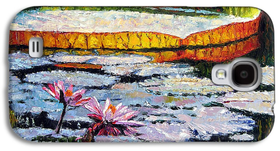 Water Lilies Galaxy S4 Case featuring the painting Afternoon Shadows by John Lautermilch