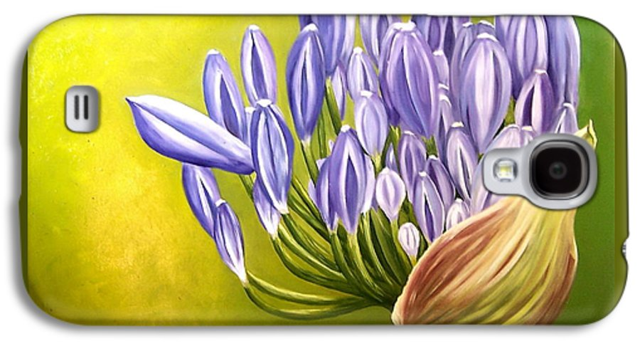 Flower Galaxy S4 Case featuring the painting Agapanthos by Natalia Tejera