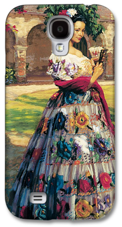 Woman Elaborately Embroidered Mexican Dress. Background Mission San Juan Capistrano. Galaxy S4 Case featuring the painting Al Aire Libre by Jean Hildebrant