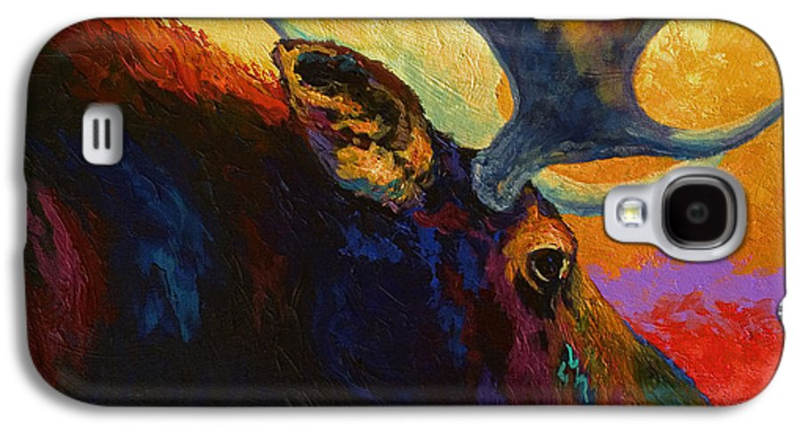 Moose Galaxy S4 Case featuring the painting Alaskan Spirit - Moose by Marion Rose