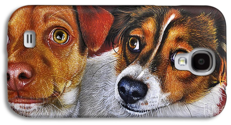 Puppies Galaxy S4 Case featuring the painting Ali And Ilu by Jurek Zamoyski