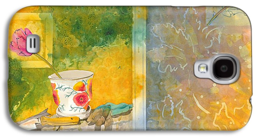 Garden Galaxy S4 Case featuring the painting Along The Garden Wall by Jean Blackmer
