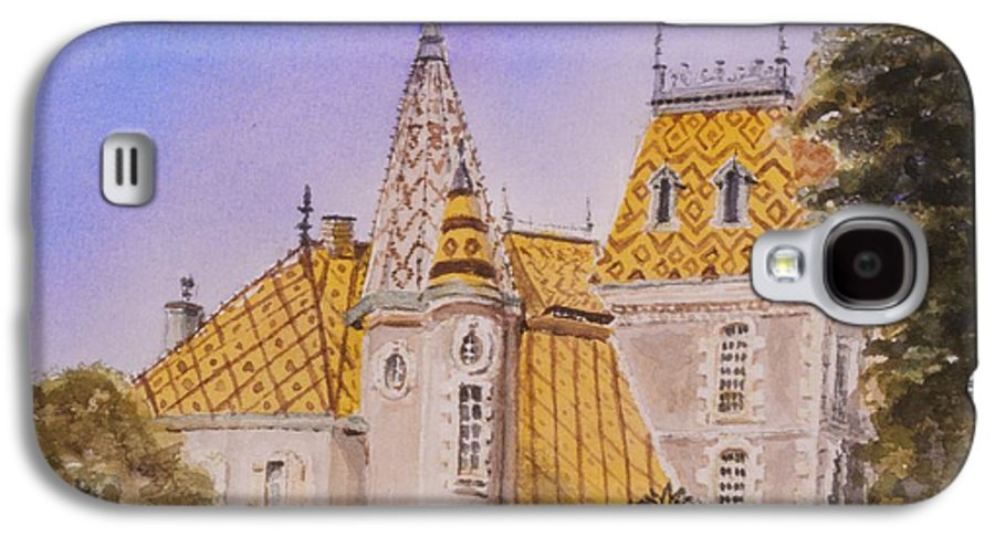 Vineyard Galaxy S4 Case featuring the painting Aloxe Corton Chateau Jaune by Mary Ellen Mueller Legault