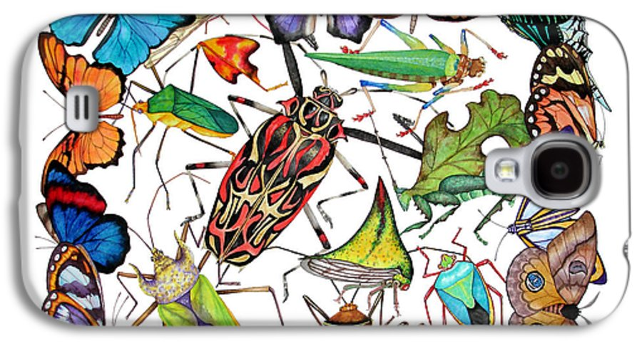 Insects Galaxy S4 Case featuring the painting Amazon Insects by Lucy Arnold
