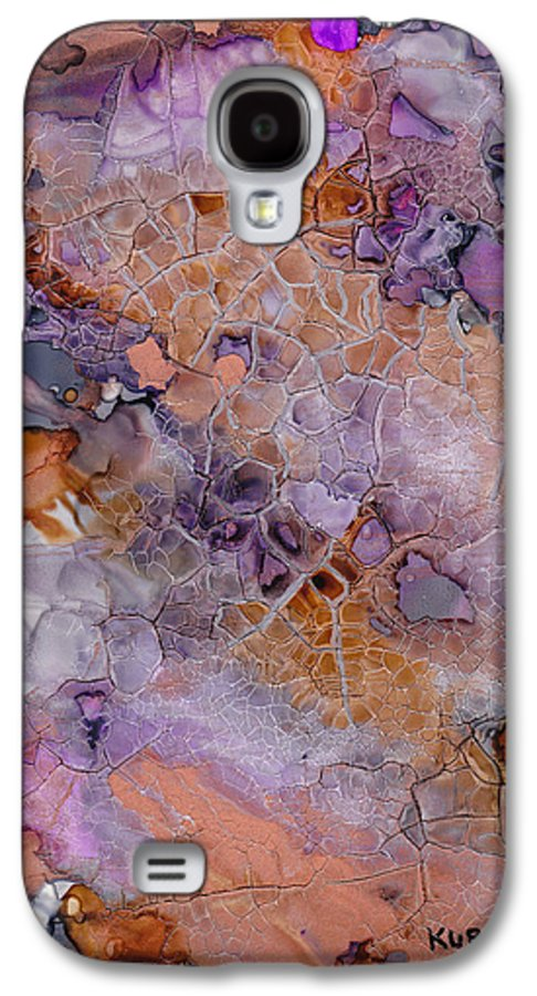 Abstract Galaxy S4 Case featuring the mixed media Amethyst And Copper by Susan Kubes