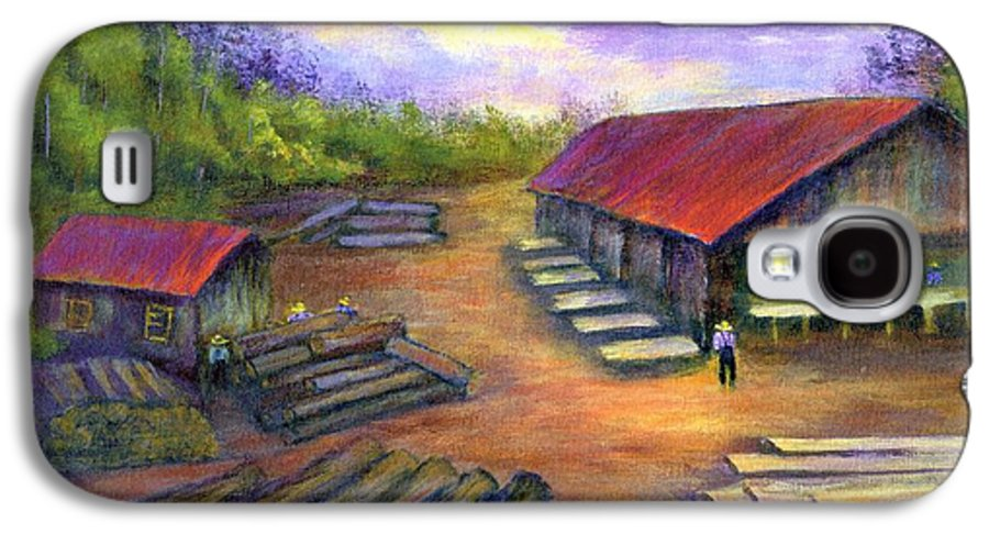 Amish Galaxy S4 Case featuring the painting Amish Lumbermill by Gail Kirtz