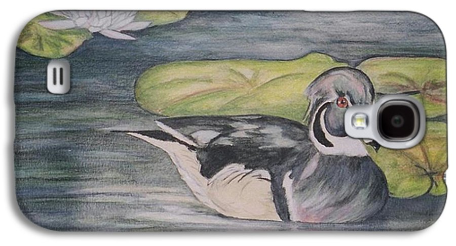 Wood Duck Galaxy S4 Case featuring the painting Among The Lillypads by Debra Sandstrom