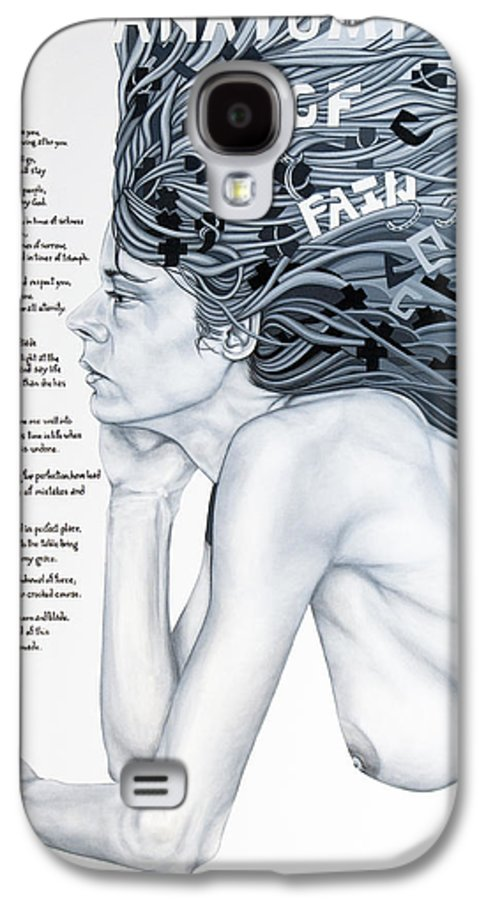 Poetry Galaxy S4 Case featuring the painting Anatomy Of Pain by Judy Henninger