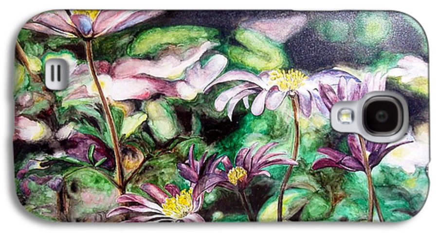 Floral Painting Galaxy S4 Case featuring the painting Anemones Japonaises by Muriel Dolemieux